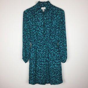LOFT long-sleeve ruffle front mini dress